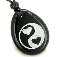 Love Connection Hearts Ying Yang Magic Spiritual Amulet Black Agate Pendant Necklace