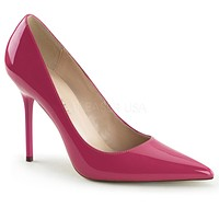 "Classique 20 Hot Pink Patent Pointy Toe 4"" Stiletto Heel Pump 6 - 16 Queen"