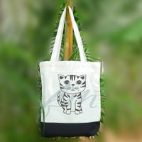 Book tote bag American shorthair cat breed 2 size Two tone off-white/black , shopping tote bag, printed tote bags