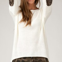 ANGL | Long Sleeve Sweater with Sequins Elbow