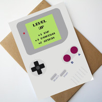 Gamer Birthday Card Nintendo Game boy inspired birthday card Game boy card - Level Up