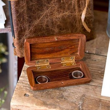 Natural Charm Personalized Pocket Size Wooden Wedding Ring Box - Garland Surrounding (Pack of 1)
