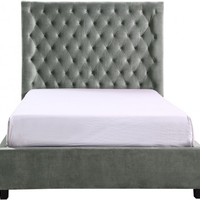 Crown Mark Aster Upholstered Bed in Grey, King