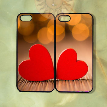 Red Heart Couple Case-iPhone 5, 5s, 4s, 4 case, Ipod 5,Samsung GS3, GS4 case-Silicone Rubber or Hard Plastic Case, Phone cover