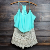 sand crochet mint party romper