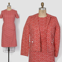 Vintage 60s DRESS SET / 1960s Red & White Clover Print Dress and Jacket Set L