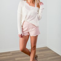 Scalloped Shorts- Pink