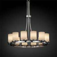 Justice Design Group FSN876310WEVEMB Fusion Dakota 12-Light Matte Black Tall Ring Chandelier - (In Matte Black)