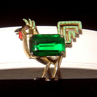 Fabulous Vintage Coro Rooster Brooch pin