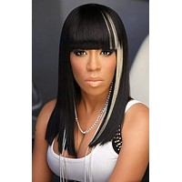 Mixed Colour Long Straight wigs Heat Resistant Synthetic Hair Wigs for Women