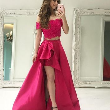Off Shoulder Two Piece Lace Beading Long Prom Dress