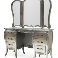 Designer French Dressing Table | Silver Alice Dressing Table