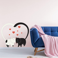 Kitty Cats Love Wall Art Sticker - Nursery Decor cat lover gift Decal - Cute Loving Couple Cats Removable Mural - Love You Cat Vinyl Sticker