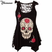 Chesmono Fashion Women T Shirts Sleevless Printed Skull head o Neck hollow out mesh Perspective Casual Irregular Tops t shirt