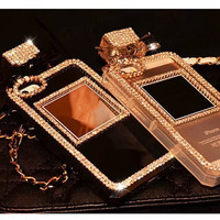 Luxury Bling Crystal Rhinestone Perfume Bottle TPU Case For Iphone 7 7Plus 4s 5s SE 6 6s 6plus for Sumsung Galaxy S6 S7 S7edge