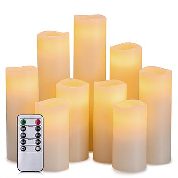 """Hausware Flameless Candles Battery Operated Candles H 4"""" 5"""" 6"""" 7"""" 8"""" 9"""" Real Wax Pillar Flickering LED Candle with 10-Key Remote and Timer Control Set of 9 (Ivory Color) Ivory, Set of 9"""