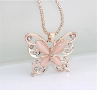 Rose Gold Opal Butterfly Pendant Necklace for Women