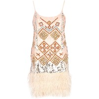Light pink sequin feather trim cami dress