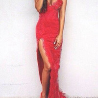 Spaghetti Straps Prom Dresses ,Red Lace Prom Dress,Long Evening Dress