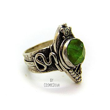 Green Natural Peridot Sterling Silver Boho Statement Ring, US 9.5 Ring