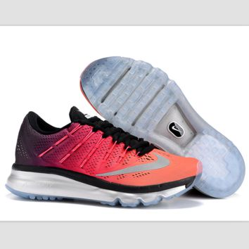 """""""NIKE"""" Trending AirMax Toe Cap hook section knited Fashion Casual Sports Shoes Black-orange-pink gradient (silver soles)"""