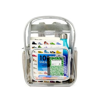Heavy Duty Clear Backpack Durable Military Nylon Clear Bookbags Transparent See Through for School Work Small (Kids) Gray (Small)