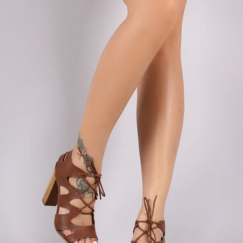 Bamboo Caged Cutout Lace Up Chunky Faux Wooden Heel