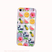 Pineapple Sun Watermelon Hard White Cover Case for iPhone 4 4s 5 5s 5c 6 6s Protect Phone Cases