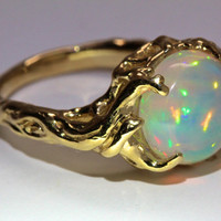 14k gold opal tree ring holding up the moon  NYC Blue Bayer Design