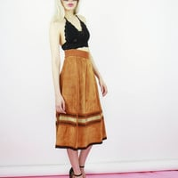 Premium Vintage 70s Patched Work Suede Button Midi Skirt
