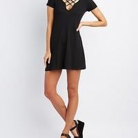 Ribbed Lace-Up Shift Dress