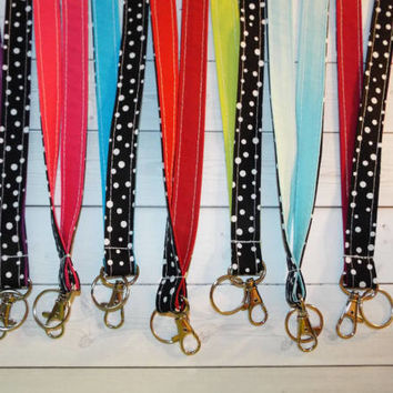 Lanyard ID Badge Holder - white confetti dots black - solid colors - THINNER design  - Lobster clasp and key ring