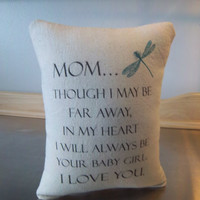 Mom gift, daughter to mom gift, mom pillow, cotton throw pillow, sentimental, I love you cushion, canvas pillows, birthday gift, home decor