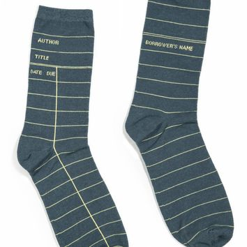 Out of Print Library Card Socks - Grey