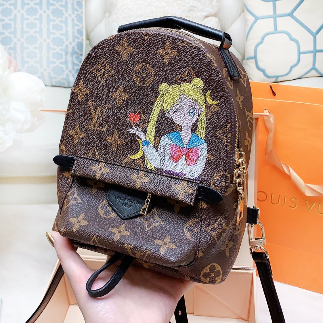 Image of LV Louis Vuitton Hot Sale Women Cute Mini Leather Daypack Backpack Bookbag