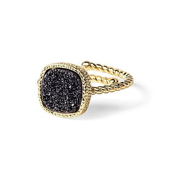 Princess Black Druzy Cable Ring