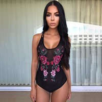 Slim Summer Women's Fashion See Through Embroidery Sexy Lace One-piece [10510241475]