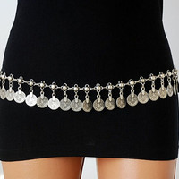 Gypsy Silver Metal Dangle Coins Belly Chain 43pieces Coins Bohemian Dance Body Chain (Size: 175 g, Color: Silver) = 1928569476