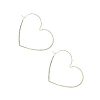Small Heart Hammered Hoops