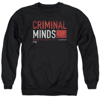 CRIMINAL MINDS/TITLE CARD - ADULT CREWNECK SWEATSHIRT - BLACK -
