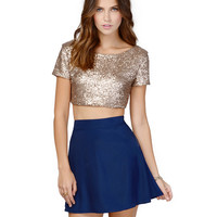 Gold Sequined Short Sleeve Scoop Neckline Crop Top