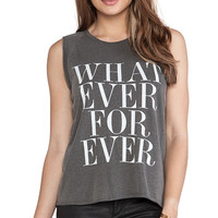 Junk Food Whatever Forever Muscle Tee in Charcoal