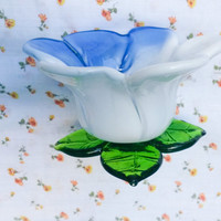 Glass Blown~ White Blue Tulip~ Flower~ Candle Holder~ Beautiful~ Murano Style~ Vintage