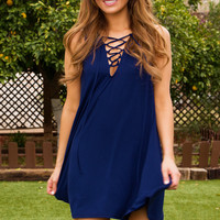 Harlee Lace Up Dress - Navy