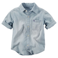 Chambray Button-Front Shirt
