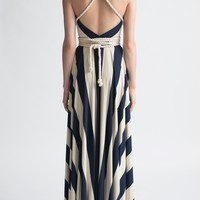 Nadia Tarr Big French Stripe Rope Halter Gown