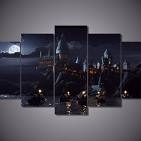 5Piece Wall Art Canvas Prints Paintings For Wall Harry Potter School Movie Posters Modular Art Picture Home Decor