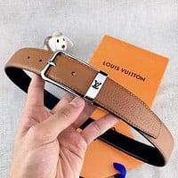 LV Louis Vuitton Fashion New Buckle Leather Women Men Belt With Box