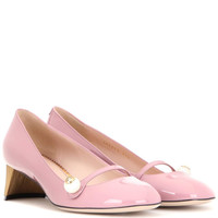 GUCCI Arielle embellished patent leather pumps