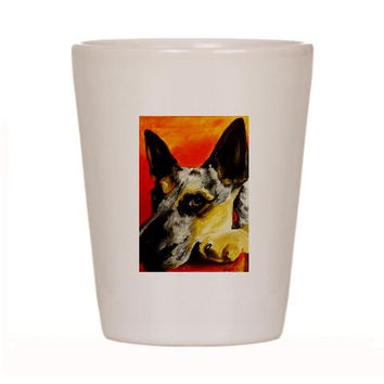 Australian Cattle Shot Glass Ceramic cup of Original Dog Art Painting